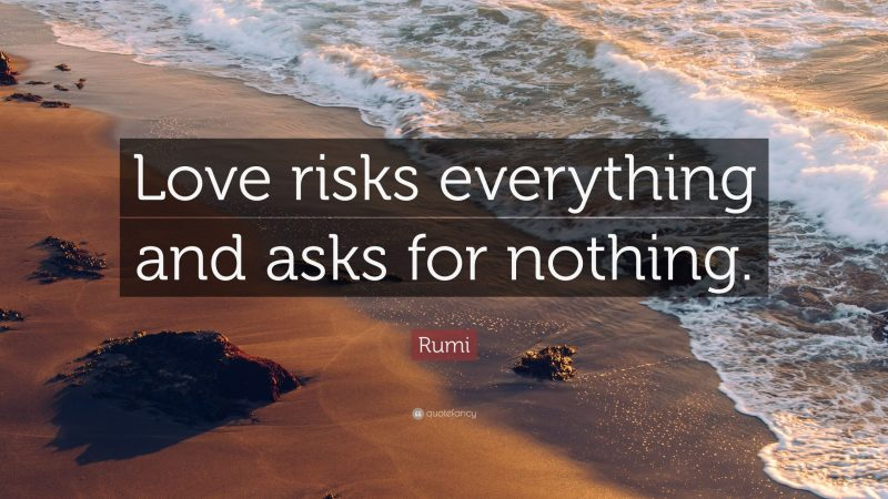 love risks everything and asks for nothing.