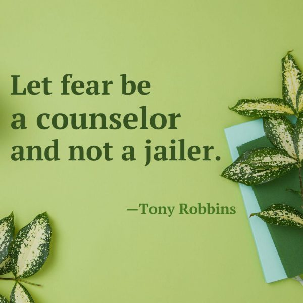 Let fear be a counselor and not a jailer.