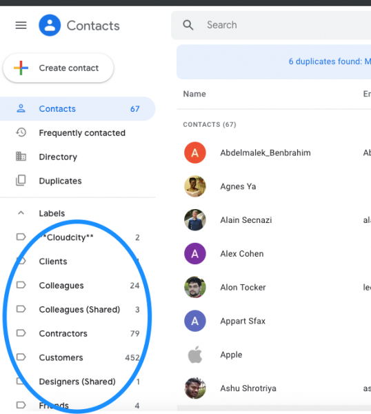 Google Contacts Labels